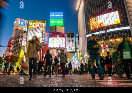 Shibuya Crossing Billboards Tokyo Night Scene - Stock Photo