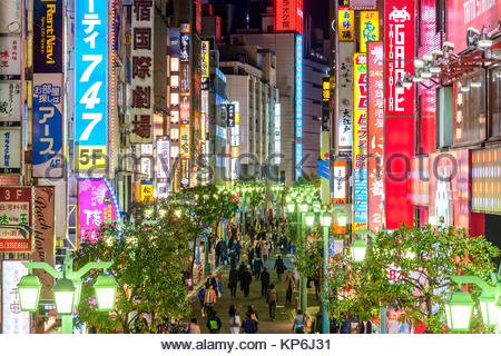 Tokyo Night Scene Shinjuku Lights - Stock Photo