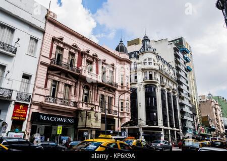 Avenida Callao, downtown (El Centro), Buenos Aires, Argentina, South America. - Stock Photo