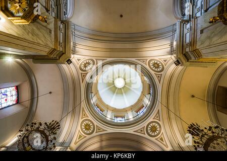 Low-angle view of the ceiling and dome of the Montevideo Metropolitan Cathedral (Catedral Metropolitana de Montevideo), - Stock Photo