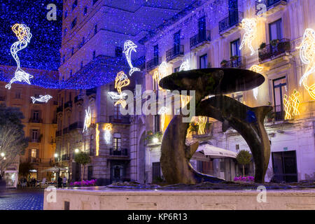 SALERNO - ITALY, December 13, 2017: Christmas lights  during the event Luci d'artista, sealife theme. God Neptune, - Stock Photo