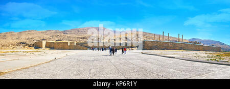 PERSEPOLIS, IRAN - OCTOBER 13, 2017: Panorama of the archaeological site with preserved massive fortification wall, - Stock Photo