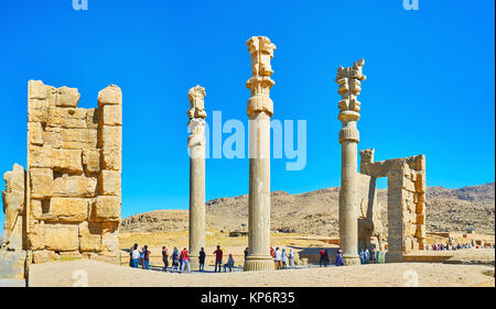 PERSEPOLIS, IRAN - OCTOBER 13, 2017: Panorama of All Nations Gate (Xerxes Gate) in Persepolis archaeological site - Stock Photo