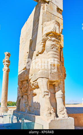 The colossal statue of Assyrian Lamassu protective deity at the eastern entrance to the ancient Xerxes Gate (All - Stock Photo