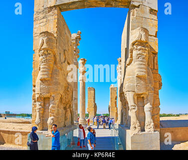 PERSEPOLIS, IRAN - OCTOBER 13, 2017: The giant Lamassu statues (Assyrian deity) decorate the eastern entrance to - Stock Photo