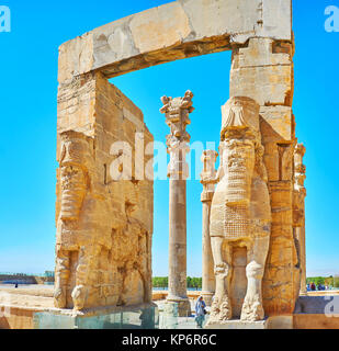 PERSEPOLIS, IRAN - OCTOBER 13, 2017: Discover All Nations Gate (Xerxes Gate) with its giant Lamassu statues, preserved - Stock Photo