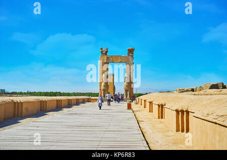 PERSEPOLIS, IRAN - OCTOBER 13, 2017: The way along the foundations of ancient buildings to All Nations Gates (Xerxes - Stock Photo