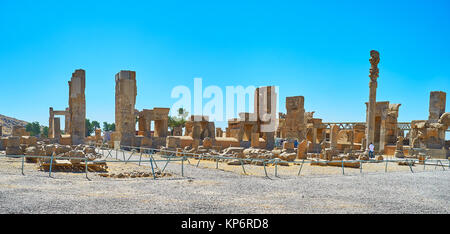 Hundred Columns Hall is preserved part of Persepolis archaeological site, it boasts preserved gates with reliefs, - Stock Photo