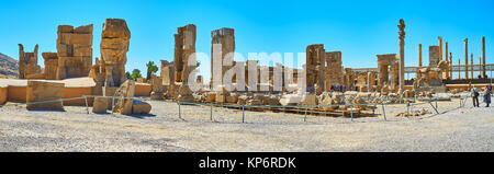 PERSEPOLIS, IRAN - OCTOBER 13, 2017: The large archaeological complex of Persepolis includes the ruins of different - Stock Photo