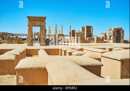 Preserved stone gates of Hundred Columns Hall, located in Persepolis archaeological site, Iran. - Stock Photo