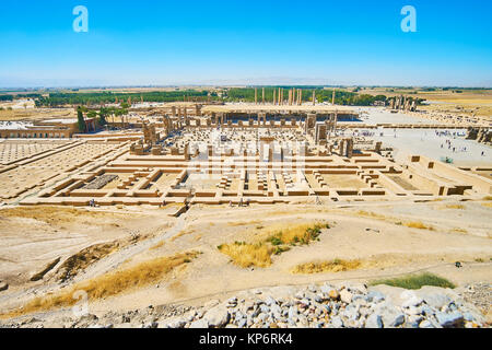 The ruins of ancient palace complex located on the flat area at the foot of Rahmet Mount, Persepolis, Iran. - Stock Photo