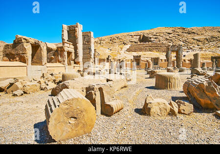 Persepolis complex is famous for preserved ancient palaces and tombs, Iran. - Stock Photo