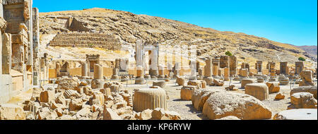 Panorama Persepolis archaeological site with emains of ancient Persian architecture, Iran. - Stock Photo