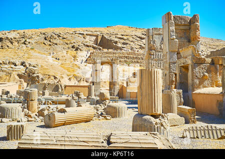 Persepolis is located on the plateau, at the foot of Rahmet Mount, its slope is serve as the perfect viewpoint and - Stock Photo