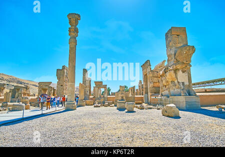 PERSEPOLIS, IRAN - OCTOBER 13, 2017: The hot midday in Persepolis archaeological site, the ancient city of Persia, - Stock Photo