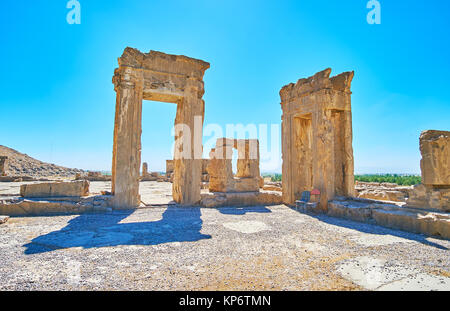 The ruins of Tripylon, ancient Council Hall of Persian King, Persepolis archaeological site, Iran. - Stock Photo
