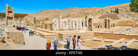 PERSEPOLIS, IRAN - OCTOBER 13, 2017: Panorama of Persepolis archaeological site from the hill with a view on Hundred - Stock Photo