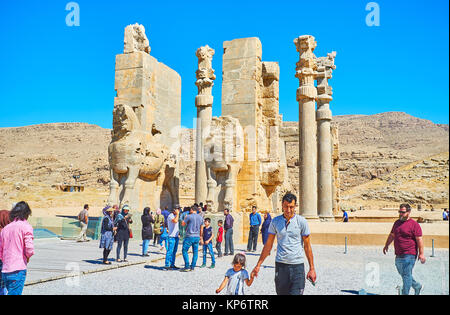 PERSEPOLIS, IRAN - OCTOBER 13, 2017: All Nations (Xerxes) Gate of Persepolis is one of the most popular local landmarks, - Stock Photo