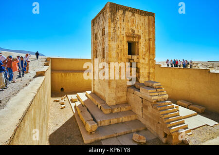 NAQSH-E RUSTAM, IRAN - OCTOBER 13, 2017: The ancient building of Ka'ba-ye Zartosht - Zoroaster tower or chamber - Stock Photo