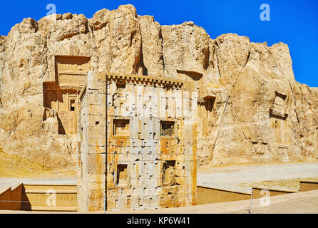 Panorama of Naqsh-e Rustam Necropolis with a view on Zoroaster tower and tombs in Hossein Mount on the background, - Stock Photo
