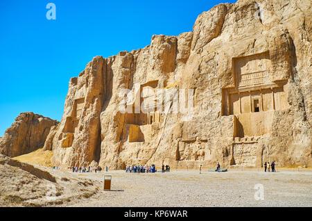 NAQSH-E RUSTAM, IRAN - OCTOBER 13, 2017: Naqsh-e Rustam Necropolis is the notable architectural ensemble of the - Stock Photo