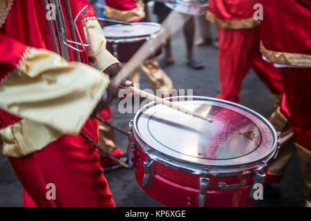 Mardi gras paparade in Sainte Anne, a little village in the South of Martinique. - Stock Photo