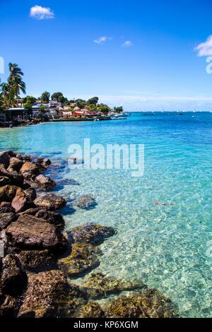 Gorgeous blue sea through transparent water in the South of Martinique. Caribbean - Stock Photo