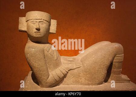 Chac Mool staue in the Museo Nacional de Antropologia-The National Museum of Anthropology, Ciudad de Mexico, Mexico - Stock Photo