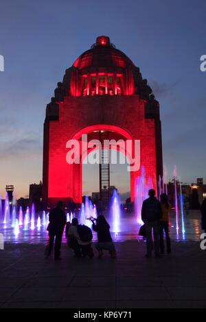 People in front of the Monument dedicated to the Mexican Revolution (Monumento dedicado a la Revolucion Mexicana) - Stock Photo