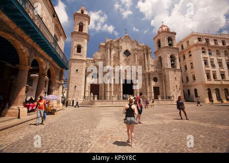 View to the Cathedral at Plaza De La Catedral-Cathedral Square, Havana Vieja, Havana, Cuba, West Indies, Central - Stock Photo
