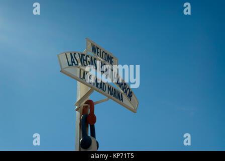 Lake Mead Marina sign Nevada, USA. - Stock Photo