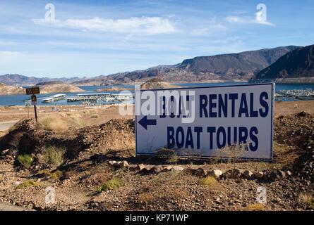 Lake Mead Marina boat rental sign Nevada, USA. - Stock Photo