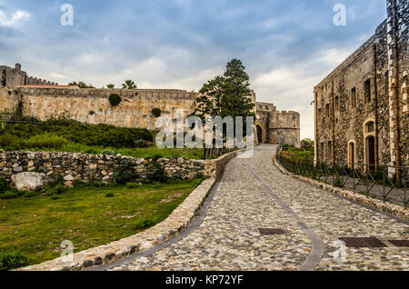 Street access to the old Norman fortification in the city of milazzo sicily italy - Stock Photo