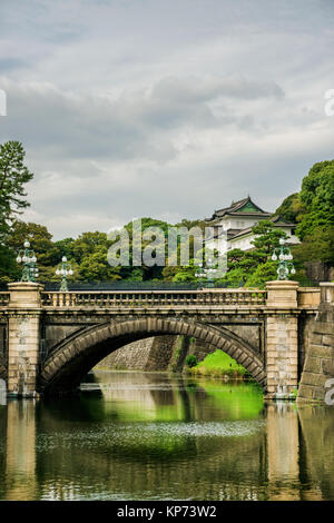 Tokyo Imperial Palace Outer Gardens with the famous Nijubashi Bridge - Stock Photo