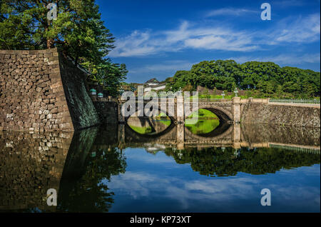 View of Tokyo Imperial Palace Outer Gardens with the famous Nijubashi Bridge - Stock Photo