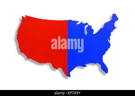 United States Of America Outline Map In Green Isolated On White - Us map of political parties