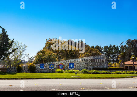 The entrance to Vandenberg Air Force base in Lompoc California 30th Space wing Fourteenth Air Force US Stratcom - Stock Photo