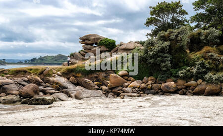 Massive stones near the beach at Bretagne, France - Stock Photo