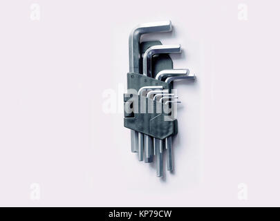 Hex key set for bike repair different size on white background - Stock Photo