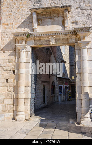Gate in the city walls, Trogir Old Town, Croatia - Stock Photo