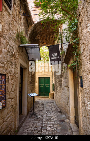 Narrow streets, Trogir Old Town, Croatia - Stock Photo