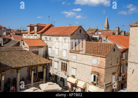 View from the bell tower, Cathedral of St Lawrence, Trogir Old Town, Croatia - Stock Photo