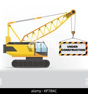 Construction crane holding sign - Stock Photo