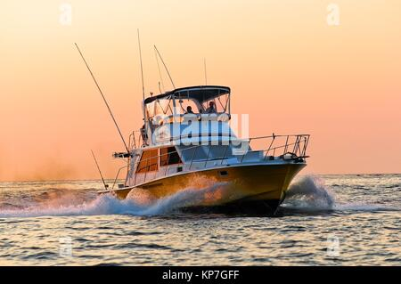 Marlin fishing boats at Land´s End, in the Southern Tip of Baja California, were the Sea of Cortez meets the Pacific - Stock Photo