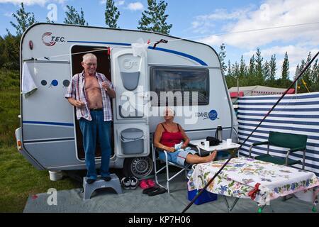 Camping near Strokkur Geyser, Haukadalur valley, South West Iceland, Golden Triangle, Iceland, Polar Regions. - Stock Photo