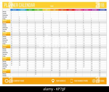 12 Months Calendar Design 2018 Printable And Editable Stock Vector
