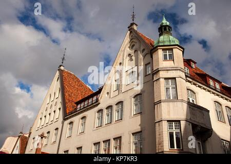View to the traditional buildings in the old town, Tallinn, Estonia, Baltic States, Europe. - Stock Photo