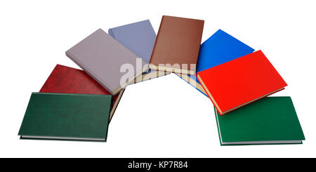 Â'lose up of semicircle of colorful books on white background - Stock Photo