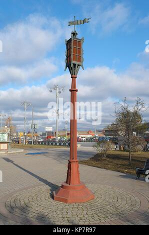 Moscow, Russia - October 30, 2015: Stylized lantern on Square in front of the Riga station - Stock Photo