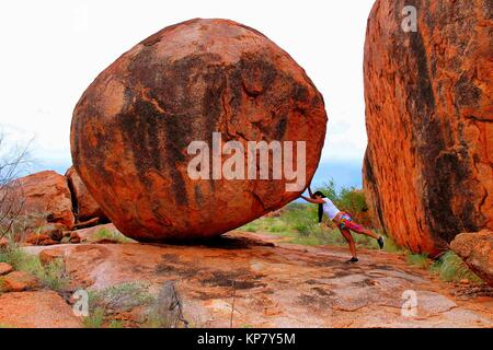 Girl, Australia, Filipino, Asian, Devils marbles - Stock Photo